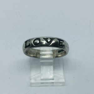 Vintage Sterling Silver Love Etched Boho Band Ring